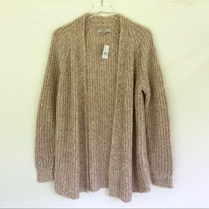 NWT Ann Taylor LOFT Pink Chunky Knit Open Cardigan